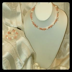 Coral and fresh water pearl set